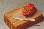 Red Pepper on Wood Block